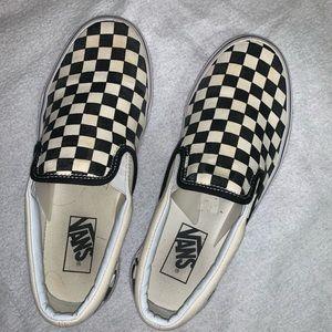 Checkered Vans slip on